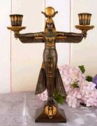 Winged Isis Egyptian Style Double Candle Holder 31 cm